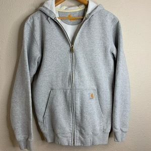Carhartt Men's Grey Full Zip Hooded Sweatshirt